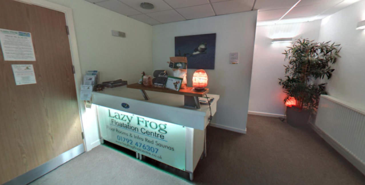 Image of the reception at Lazy Frog floatation centre from the 360 virtual tour by G Marketing solutions Swansea
