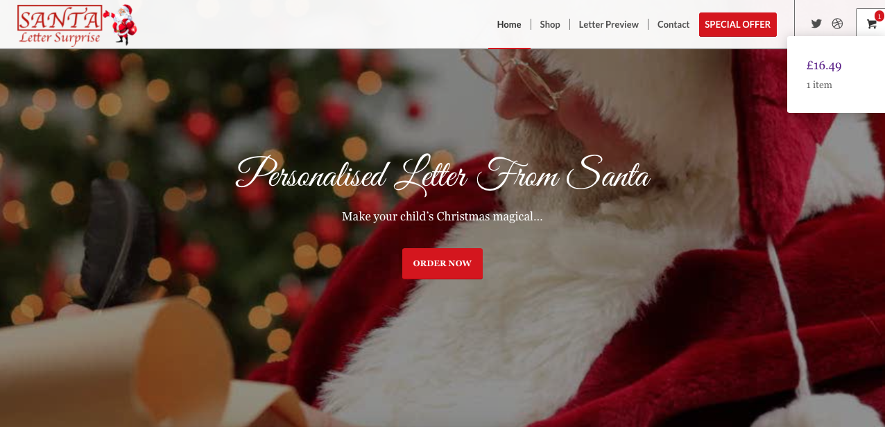 E-commerce websites with G Marketing Solutions just got easier like this example of Santa letter surprise online store.