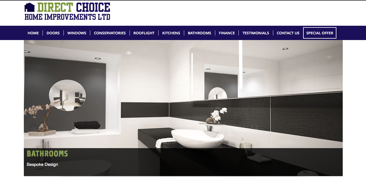 Screenshot of Direct Choice Home Improvements website as designed by G Marketing Solutions in Swansea