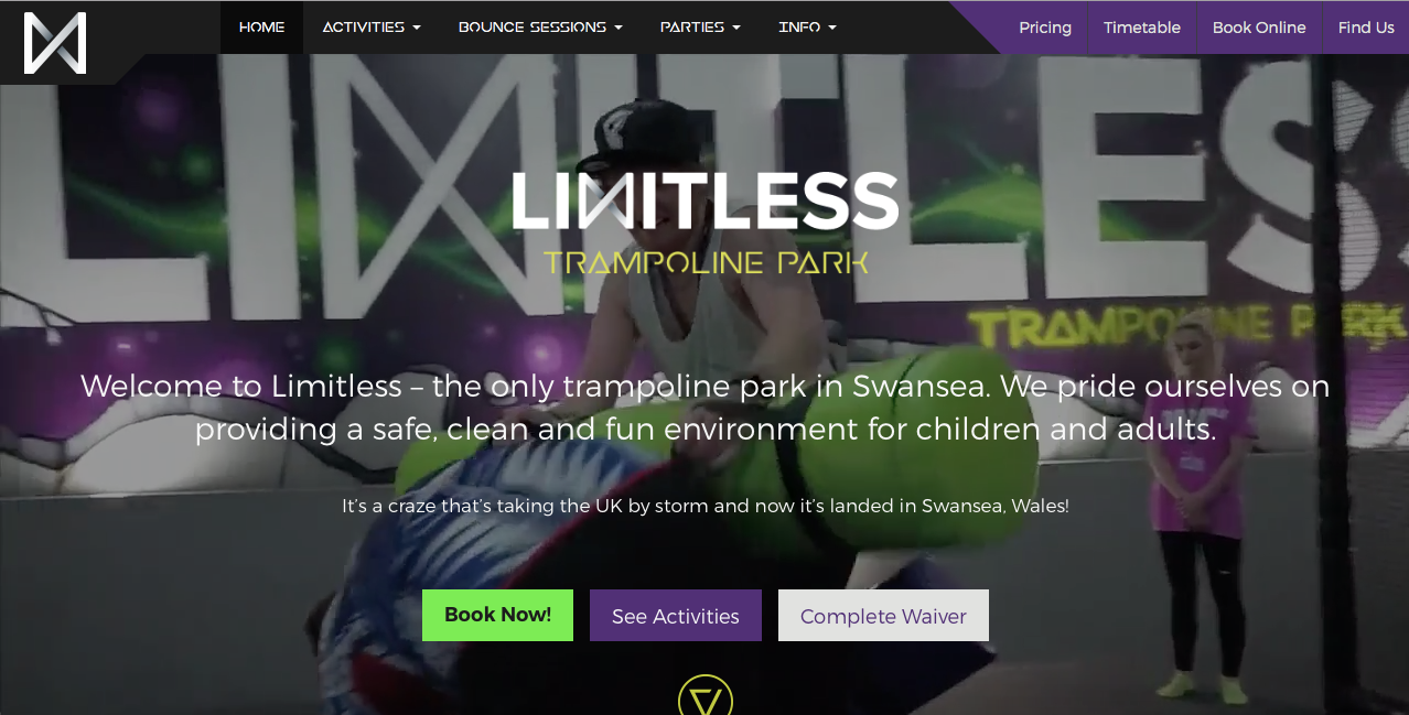 Limitless Trampoline Park screenshot of website by G Marketing Solutions Swansea