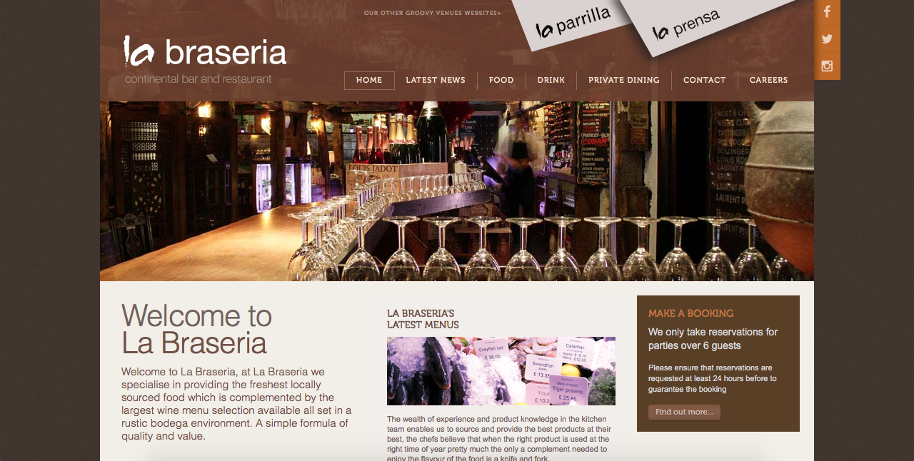 Screenshot of La Braseria Swansea website from G Marketing Solutions