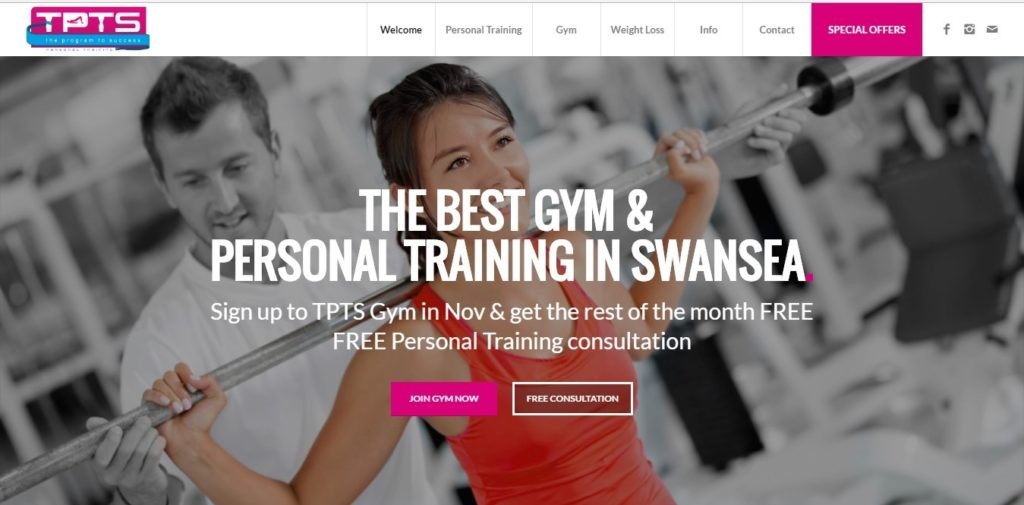 TPTS Fitness Club website design and development with G Marketing Solutions Swansea