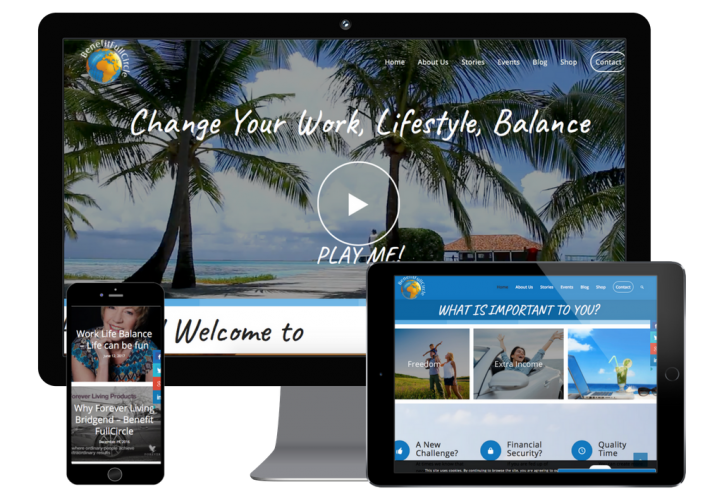 This is the forever living recruitment website we built shown on different screen responses