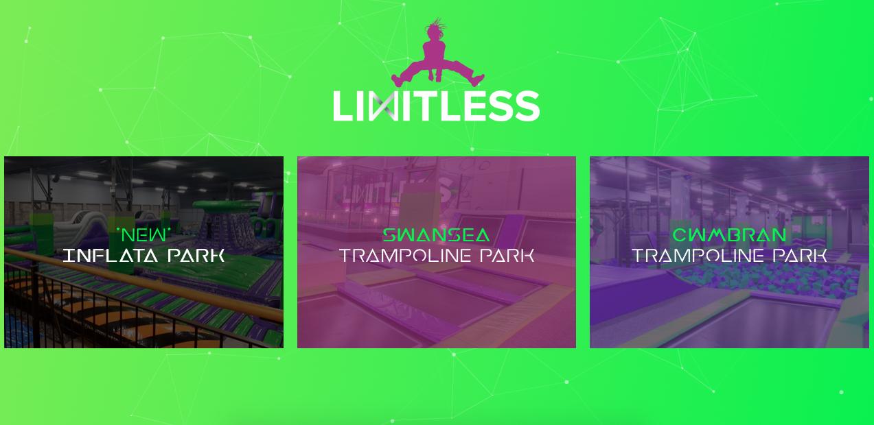 Image of website we built called limitless trampoline park