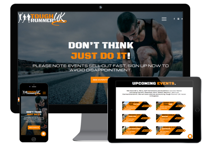 Responsive running events web design on different devices