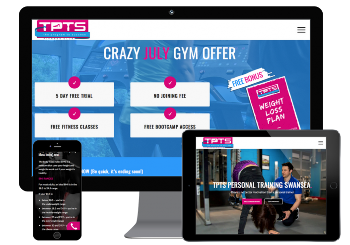 Responsive designs built for a gym web design and a personal trainer web design