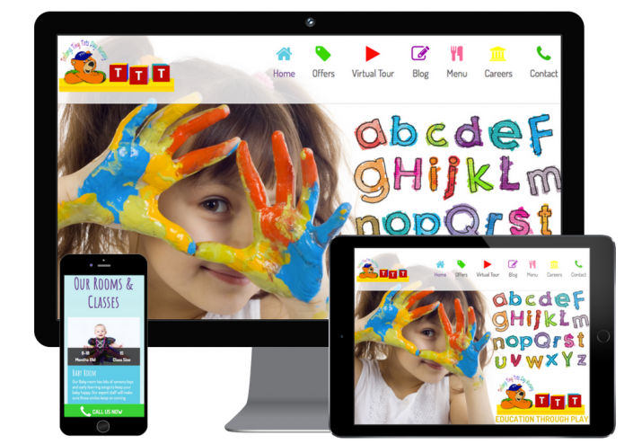 Web design of a creche and day nursery shown on different responsive devices