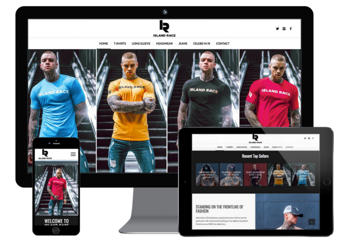 This is an image showing how island race clothing website looks across different responsive devices.