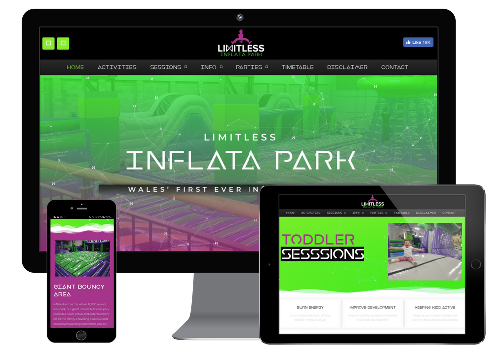 Inflata Park and Trampoline park web design on different responsive displays