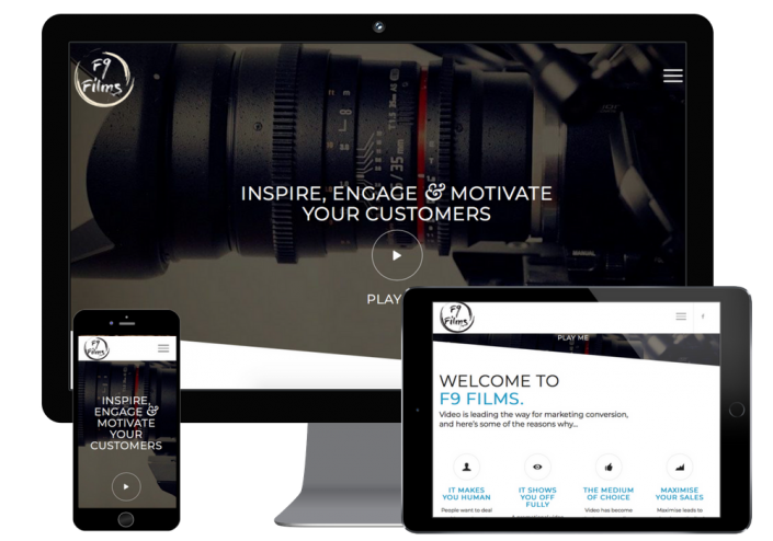 This is the view of f9 films website design on multiple responsive designs